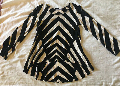 AU35 • Buy MISTER ZIMI *ZULU* Long Sleeve Relaxed Blouse, 6 (Also Suits 8) Black & Cream
