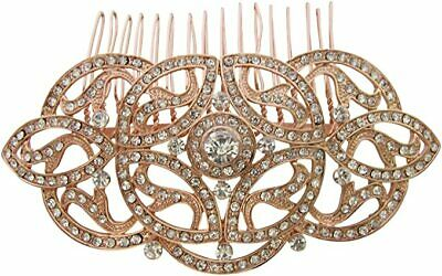 Vintage Inspired Art Deco Gatsby Style Rose Gold Crystal Diamante Hair Comb New • 14.99£
