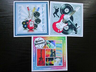 NEW TRIO SET---- 3 X MUSICAL GUITARS Birthday Card Making Toppers ---- Set 1 • 1.60£