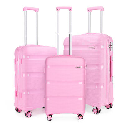 Pink Luggage Set Bright Hard Shell PP Suitcase Travel Case TSA Hand Cabin Case • 29.19£