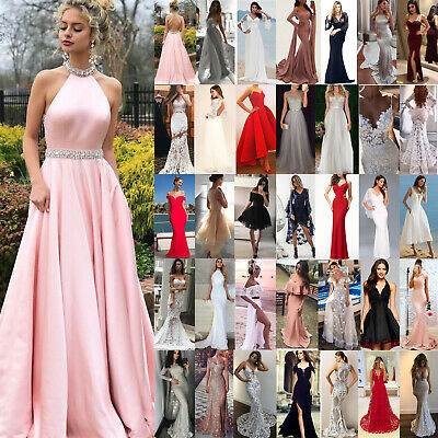 AU26.59 • Buy Women Wedding Evening Cocktail Ball Gown Ladies Party Bridesmaid Prom Maxi Dress