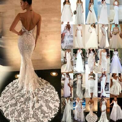 AU29.06 • Buy Womens Ladies White Lace Wedding Maxi Dress Evening Party Formal Prom Ball Gown