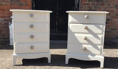 Pair Of Stag 4 Drawer Bedside Tables Cabinets Shabby Chic Painted Farrow & Ball • 245£