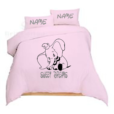 DUMBO THE MOVIE 2019 - PERSONALISED - Pink OR Pale Blue Duvet Cover Set Bedding  • 32.99£