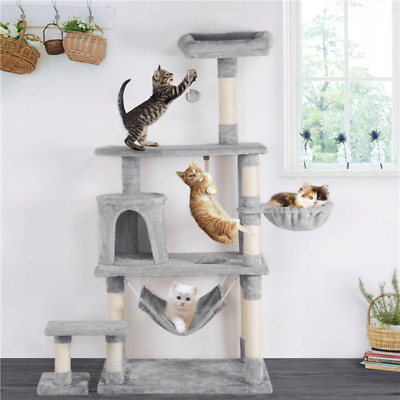 Large Cat Tree Tower Condo Furniture Scratching Kitty Kitten Play House 156cm H • 54.99£