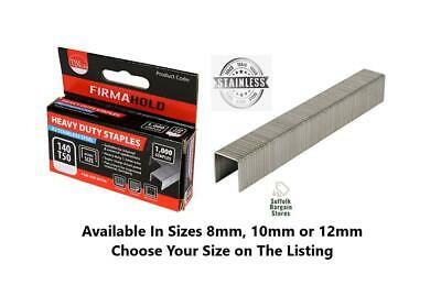 Firmahold Type 140/T50/G Stainless Steel Staples 1000 Pack Choose Size 8mm-12mm • 9.65£