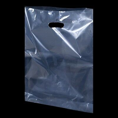 Clear 12 x 18 Inch Polythene Shopping Wave Wavy Top Carrier Bags Strong 400G
