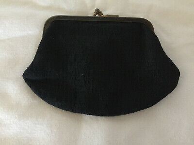 $5.90 • Buy Vintage Coin Purse Clutch In Black Double Kisslock