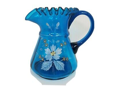$29.99 • Buy Antique Blue Glass Pitcher Hand Painted Ruffled Edge 64 Oz Blown Glass Victorian