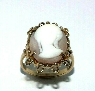 AU556.41 • Buy Ladies/womens 9ct Yellow Gold Elaborately Crafted Vintage Cameo Ring, UK Size U