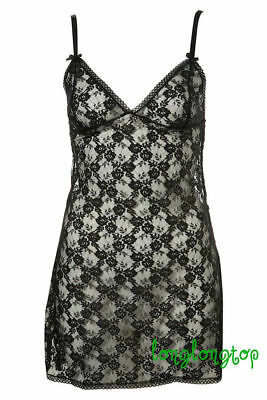 Topshop Black All Over Lace Sheer Cami Tunic Slip Dress Size 34 And 38 New • 29.99£