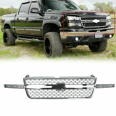 $139 • Buy Honeycomb Grille Chrome & Gray For 2005 2006 2007 Chevy Silverado Pickup Truck