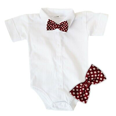 £7.99 • Buy Baby Boys Bodysuit Shirt CLARET BOW Outfit Special Occasion Christening Wedding