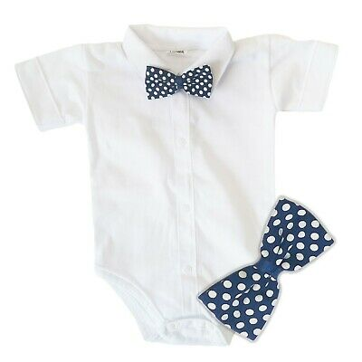 £7.99 • Buy Baby Boys Bodysuit Shirt BLUE BOW Outfit Special Occasion Christening Wedding