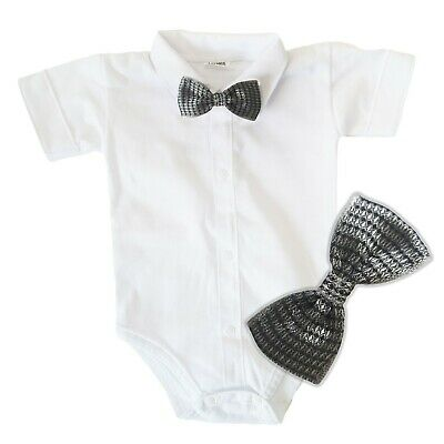 £8.99 • Buy Baby Boys Bodysuit Shirt GREY BOW Outfit Special Occasion Christening Wedding