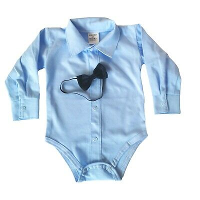 £9.25 • Buy Baby Boys Bodysuit Shirt & BOW Tie Outfit Special Occasion Christening Christmas