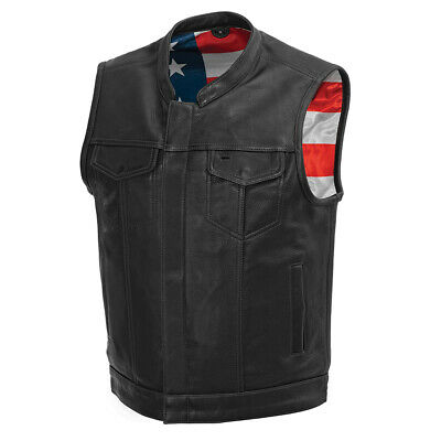 £166.59 • Buy Men's Leather Vest With American Flag Liner Size 2XL