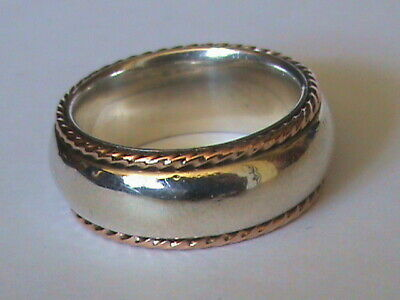 Heavy CLOGAU Sterling Silver & 9ct Gold Wedding Band Ring P • 95£