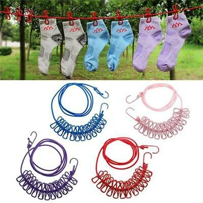 1.7M Elastic Laundry Washing Clothes Line Camping Travel With 12 Clips Pegs C • 4.64£