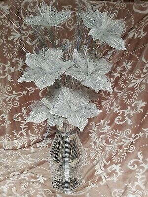 Silver Bling Mosaic Mirror Decorated 40cm  Vase With Glittery Silver Flowers • 39.99£