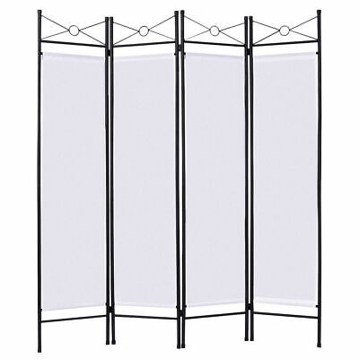 $75.95 • Buy White 4 Panel Room Divider Privacy Folding Screen Home Fabric Metal Frame