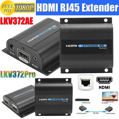 £37.86 • Buy 1080P HDMI Extender Transmitter Receiver CAT6 Ethernet Cable Converter Adapter