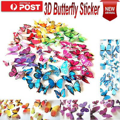 AU4.95 • Buy 24pcs 3D BUTTERFLY Wall Stickers Removable Decals Kids Nursery Wedding Decor AU