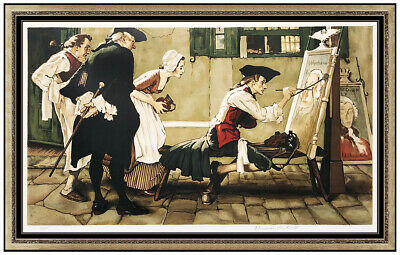 $ CDN4926.91 • Buy Norman Rockwell Lithograph Hand Signed Colonial Sign Painter Large Illustration