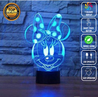 £16.06 • Buy Minnie Mouse Disney 3D Acrylic LED 7 Colour Night Light Touch Table Lamp Gift