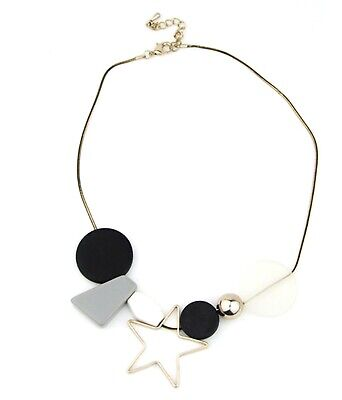 £7.69 • Buy Modern Geometric Beads Necklace Abstract Neutral Shade Large Star