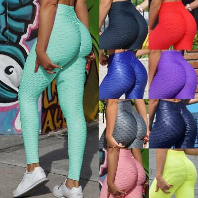 Womens Anti-Cellulite Yoga Pants Leggings Push Up Ruched Sports Gym Trousers O2 • 12.69£