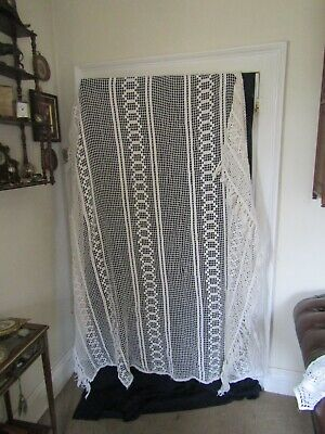 Pretty Antique French  Lace Bedspread Throw With Tassels  A/f 74  W X 60  L + 10 • 34.99£