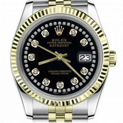 $ CDN6755 • Buy Ladies Vintage Rolex 26mm Datejust Two Tone Black Color String Diamond Accent Di