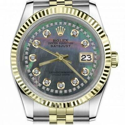 $ CDN6755 • Buy Ladies Vintage Rolex 26mm Datejust Two Tone Black MOP Mother Of Pearl String Dia