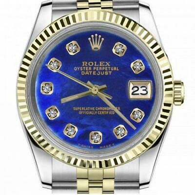 $ CDN6755 • Buy Ladies Vintage Rolex 26mm Datejust Two Tone Blue Color Treated MOP Mother Of Pea