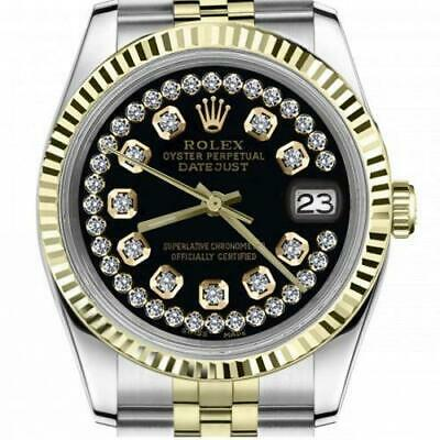 $ CDN6755 • Buy Ladies Vintage Rolex 26mm Datejust Two Tone Glossy Black String Diamond Accent D