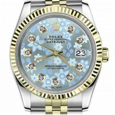 $ CDN6755 • Buy Ladies Vintage Rolex 26mm Datejust Two Tone Glossy Ice Blue Flower Dial With Dia