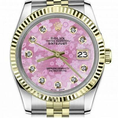 $ CDN6755 • Buy Ladies Vintage Rolex 26mm Datejust Two Tone Pink Flower MOP Dial With Diamond
