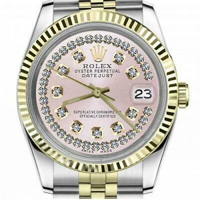 $ CDN6755 • Buy Ladies Vintage Rolex 26mm Datejust Two Tone Pink String Diamond Dial