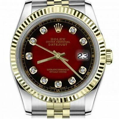 $ CDN6755 • Buy Ladies Vintage Rolex 26mm Datejust Two Tone Red Vignette Color Dial With Diamond
