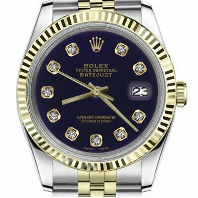 $ CDN6755 • Buy Ladies Vintage Rolex 26mm Datejust Two Tone Purple Color Dial With Diamond Accen