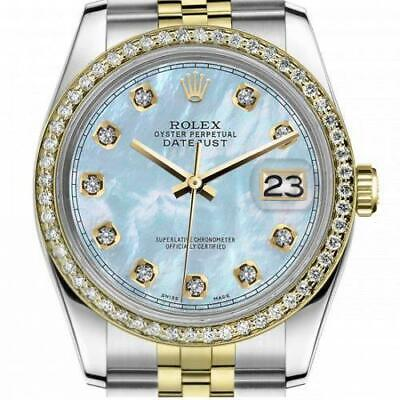 $ CDN7610.23 • Buy Ladies Rolex 26mm Datejust Vintage Diamond Bezel Two Tone Baby Blue MOP Mother O