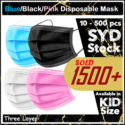 AU15 • Buy Black Pink Face Mask / KN95/ Kids Blue Protective 3 Layer Anti Bacterial Filter