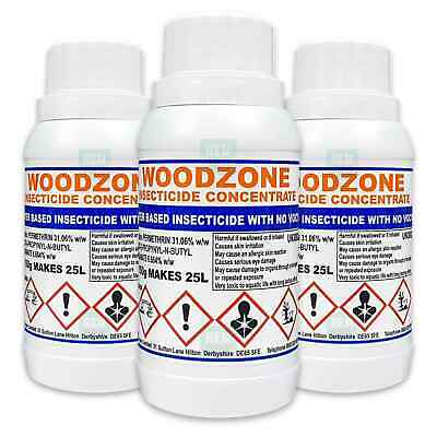 Woodzone 3 Woodworm Killer Timber Treatment Insecticide Fluid Spray -Makes 75Ltr • 46.99£