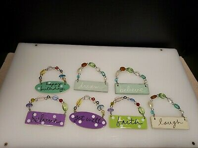 $19.92 • Buy SANDRA MAGSAMEN BEADED  Plaques. MESSAGES. CERAMIC AND WOOD.