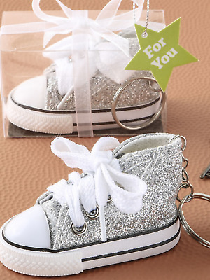 $9.72 • Buy Pink Star Print Silver Glitter Baby Sneaker Trainer Shoe Key Ring Present Gift