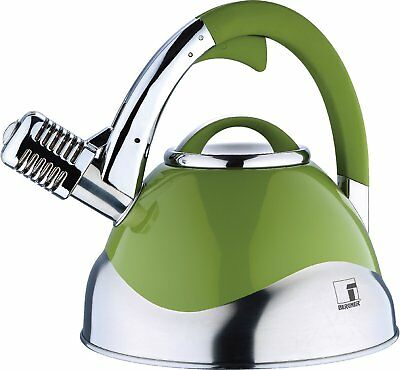 Bergner Melody Stove Top Whistling Kettle Induction Gas Hob S/Steel In Green 3L • 29.99£