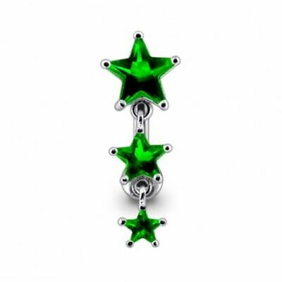 Reverse Belly Bar Silver And Surgical Steel Dark Green Star Top Drop Navel Ring  • 10.95£