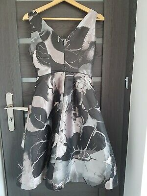 Coast Juno Jacquard Grey Silver Occasion Coctail  Dress Size 8 • 45£