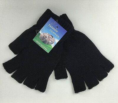 AU4.50 • Buy New Winter Black Finger-less Warm Gloves Soft Knitted Glove Comfy-au Stock